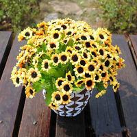 14 Head Fake Sunflower Artificial Silk Flower Bouquet Home Wedding Floral Decor