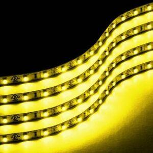 Zone Tech 4x Yellow Amber 30cm 15 LED Car Flexible Waterproof Light LED Strips
