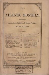 1871 Atlantic Monthly March - John Wesley; Women's rights in ancient Athens