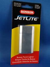 RONSON JETLITE BUTANE TORCH LIGHTER BRUSHED CHROME REFILLABLEE CIGAR PIPE