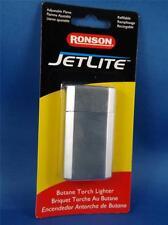 RONSON JETLITE BUTANE TORCH LIGHTER BRUSHED CHROME REFILLABLEE CIGAR PIPE