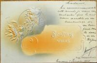 Art Nouveau 1903 Heavily-Embossed Postcard: Woman & Flower, Gray & Orange