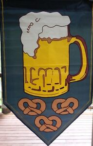 "Party Mug Large Outdoor House Flag 28""x44"" Beer Pretzels"