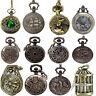 Vintage Steampunk Retro Bronze Design Pocket Watch Quartz Pendant Necklace Gift