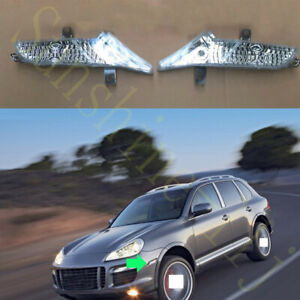 2x For Porsche Cayenne 2007-2009 White Left+Right Turn Signal Lamp Cover No Bulb