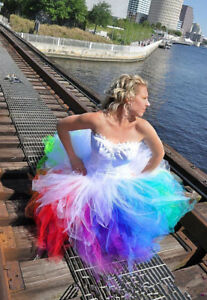 High Low Colorful Rainbow Wedding Dress Beach Bridal Ball Gown Custom 2 4 6 8++