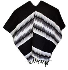 EXTRA WIDE Mexican PONCHO - Black - ONE SIZE FITS ALL Blanket Gaban BIG AND TALL