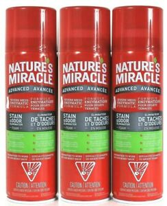 3 Nature's Miracle Advanced Severe Mess Enzymatic Stain Eliminator Foam 17.5 Oz
