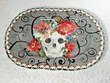 New 222 FIFTH Marbella Skull & Flowers Gray & Floral Halloween Platter Porcelain