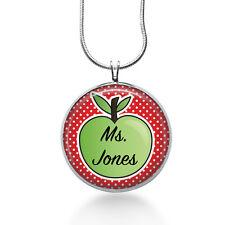 Personalized TEACHER  Apple necklace- gifts for teacher, teacher appreciation