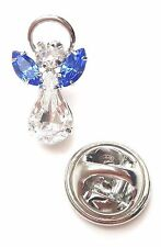 Elements Birthstone Guardian Angel Pin September Sapphire + Swarovski Crystal