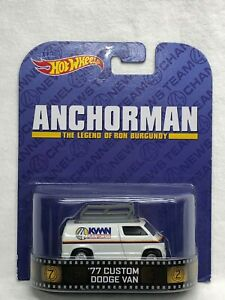 HOT WHEELS RETRO ENTERTAINMENT ANCHORMAN 77 DODGE VAN REAL RIDER DECENT CARD