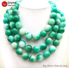 """3 Strands 18mm Green & White Round Natural Jade Necklace for Women Jewelry 18"""""""