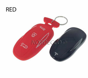 New Silicone Smart Key Fob Protector Case Cover With Keyring Tesla Model S RED