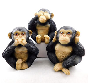 Three (3) Wise Monkeys Chimps Figurine Chimpanzee Ornament Statue Hear See Speak