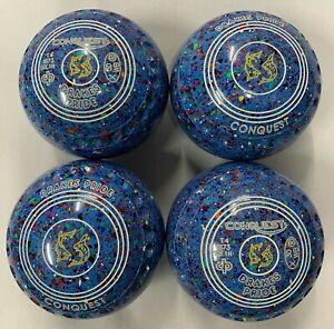 Drakes Pride Conquest Bowls Size 1H/W Blue Harlequin with Grip