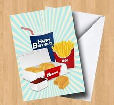 Personalised Takeaway/Fast Food/Junk Food/Burger/Chicken Nuggets Birthday Card