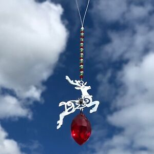 New Christmas Decoration Sun Catcher Mobile ~ Reindeer with Red Glass Droplet