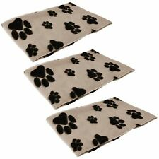 3pk Pet Blanket Dogs Puppy Cat Paw Print Soft Warm Fleece Bed Travel Basket Car