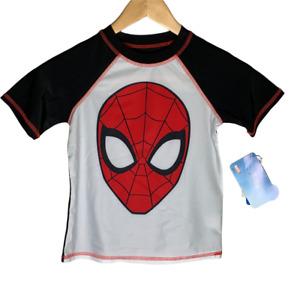 Marvel Boys Rash Guard Size Small Spiderman Swim Shirt Short Sleeves Black White