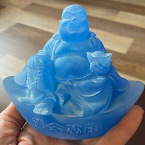 """Liuligongfang Glass Oriental ? Paperweight  LIULI BLUE BUDDHA Sculpture 5"""" By 4"""""""