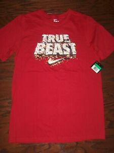 "NWT NIKE RED ""THE BEAST"" GRAPHIC LOGO SS COTTON TEE: SIZE: XL (14)"