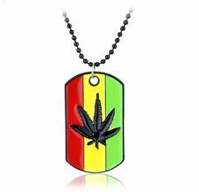 Rasta Marijuana Leaf Weed Ganja Necklace Rastafarian Marley Pot Dog Tag