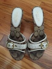 Coach Signature Brown And Tan With Heel Slip On Sandals Size 6.5M