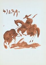 "PABLO PICASSO ""TOROS"" - RED LITHOGRAPH IN SEPIA ON PAPER DATED 4/10/1959"