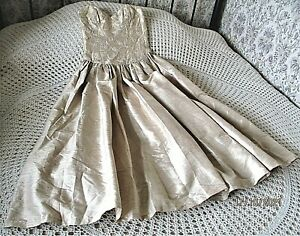 Vintage pure silk party dress MONSOON TWILIGHT Size 6 Light caramel shimmer NWT