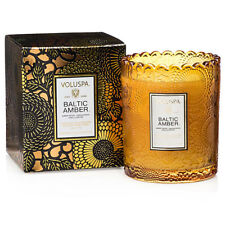 Voluspa Baltic Amber scalloped edge embossed glass candle 6.2oz