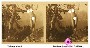 NU, FEMME, ÉROTISME, VUE STÉRÉO SUR VERRE 6 X 13 cm, 1910, NUDE WOMEN LADY -M8