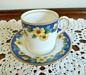 "ROYAL ALBERT CROWN CHINA COFFEE CAN DEMITASSE ""PRIMROSE"" CUP SAUCER DUO 1927-35"