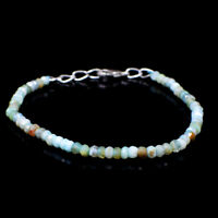 30.00 Cts Natural 7 Inches Long Peruvian Opal Round Cut Beads Bracelet NK 92E58