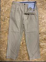 Brooks Brothers Tan Pleated Cuffed Cotton Elliot Chino Khaki Pants Sz W36 L32