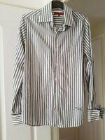 Men's Smart Sonneti White Multi Striped Shirt, Size M, Collar Size 15.5/16'', GC