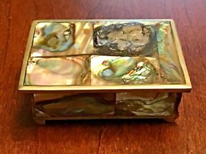 Vintage Antique Abalone Mother of Pearl Inlay Trinket Jewelry Box Alpaca Silver