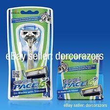 NEW DORCO® PACE 6 Plus, 6 Blades Razor w/Trimmer Pack (1 Razor + 6 Cartridges)
