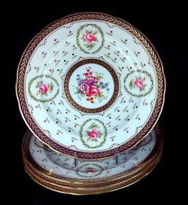 SET 4 SPODE COPELAND ROSES PLATES MADE FOR TIFFANY GORGEOUS PATTERN ON WHITE!