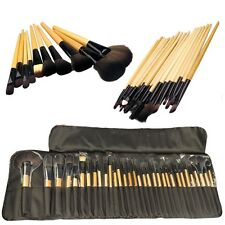 Professional Make Up Cosmetic Set Wooden Soft Bristle 32 BRUSHES Pouch EXCELLENT