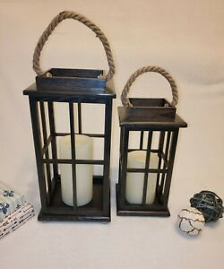 Two Piece 100% Handmade with Real Cedar wood Lantern  Candle - Made in USA