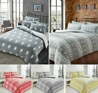 New Printed CHECK STRIPE Teddy Fleece Duvet Cover + PC Cosy Warm Soft Bed Set LW