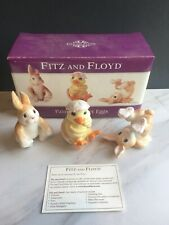 *Rare* Fitz and Floyd Painted Easter Eggs Bunny Chick Figurines in Box