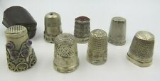 Collection of 7x Vintage Silver Thimbles with an Antique Leather Thimble Case