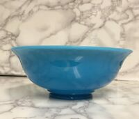 "Vintage Blue Glass Cereal Serving or Chili Bowl 7 1/4"" x 3"""
