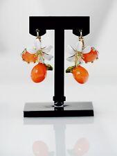 Boucles d'Oreilles Dormeuse Doré Fleur Perle Orange Email Blanc Leger L2