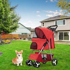 4 Wheels Folding Pet Stroller Cat Dog Cage Stroller Portable Travel Carrier Red