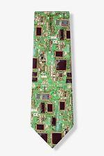 Men's Microfiber Green Motherboard Computer Science Geek Necktie Tie