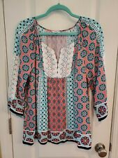 Crown & Ivy Boho Top Turquoise & Lt. Red/Pink Crochet  Neck & Sleeves Size Med