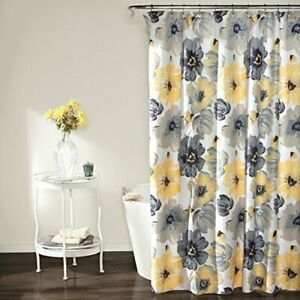 Leah Shower Curtain - Bathroom Flower Floral Large Blooms Fabric Yellow/ Gray